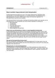 Persbericht Mooie resultaten imago-onderzoek belanghouders (De Woningstichting, Wageningen), december 2017