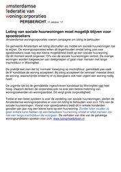 Persbericht Loting van sociale huurwoningen moet mogelijk blijven voor spoedzoekers (AFW, Amsterdam) oktober 2017