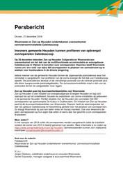 Persbericht Woonveste over ondertekening met Zon op Heusden van overeenkomst zonnestroominstallatie Caleidoscoop, 27 december 2018