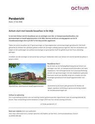 2018.08.17 Persbericht Actium start met tweede bouwfase in De Wijk