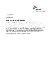 Persbericht Stek over 110-jarig bestaan, 16 oktober 2017