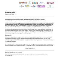 Persbericht Actium cs over effect maatregelen betaalbaar wonen, mei 2018