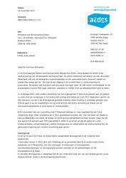 Brief Aedes aan minister BZK over 5 Peta Joule pakket, 30 november 2017