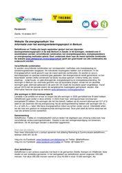 Persbericht over livegang website Energieproeftuin, 16 oktober 2017