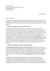 Brief Aedes aan minister Wiebes van EZK over behoud salderingsregeling tot 2023, 12 december 2017