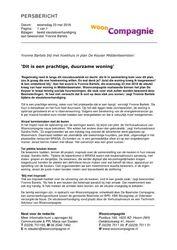 Persbericht Wooncompagnie - Sleuteloverhandiging plan De Keyser