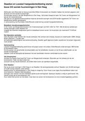 Persbericht Staedion en Loostad Vastgoedontwikkeling starten bouw 243 sociale huurwoningen in Den Haag