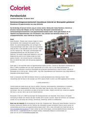 Persbericht Woonpalet over getekende Samenwerkingsovereenkomst Gizeh met Coloriet, 10 januari 2019
