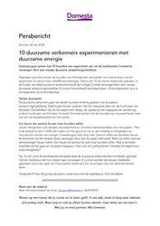 Persbericht Domesta over start experiment 10 duurzame verkenners, 18 mei 2018