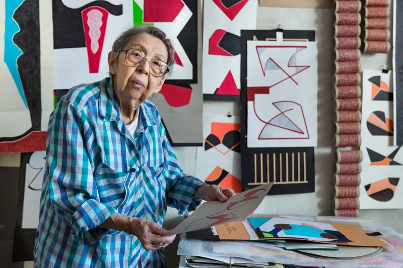 Geta Brătescu in the studio, 2018