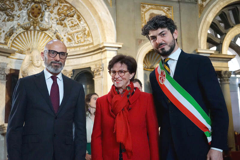 Sergio Risaliti, Artistic Director of Museo Novecento, Ursula Hauser and Councillor for Culture of the Municipality of Florence, Tommaso Sacchi