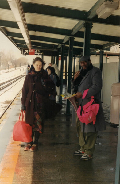 Rachel and Frank at JFK airport, 1993_By Iona Scott