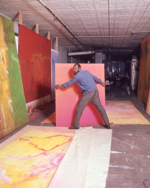 Frank Bowling in his SoHo studio at 535 Broadway, New York, ca. 1971. Courtesy Frank Bowling Archive
